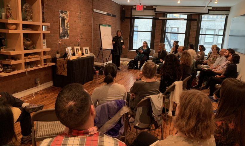 Photo of Phyllis Furumoto leading a workshop in New York City on November 2, 2019
