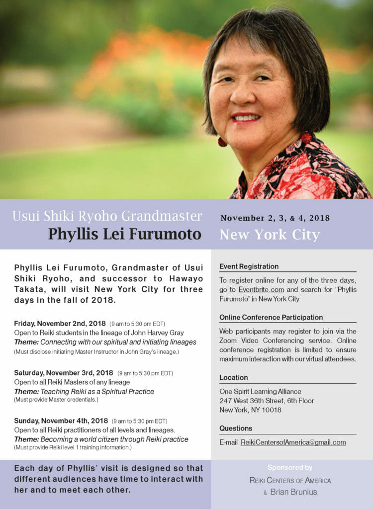 Flyer for the November 2, 3, and 4 Reiki event in New York City with Usui Shiki Ryoho Grandmaster Phyllis Lei Furumoto