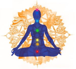 Position of the Lotus and colored chakras
