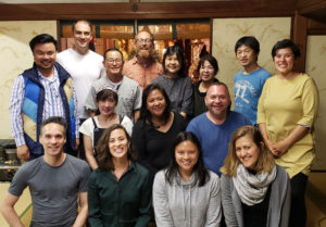 Photo of NYC and SF Reiki Center Students at the Monday night Reiki Circle of Hyakuten Inamoto Sensei in Kyoto Japan, May 2019