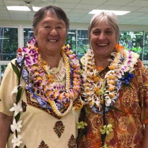 Photo of Reiki Grandmaster Phyllis Lei Furumoto and her wife Joyce Winough