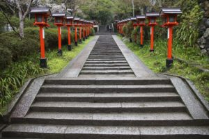 Photo of the steps leading up the side of Mount Kurama, near the approach to the main temple
